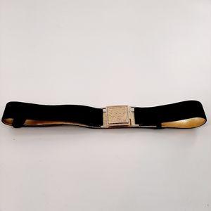 Anne Klein black suede belt with gold color buckle